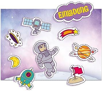 Neuheit 8er Set Weltall Sticker 8 Einladungskarten 8