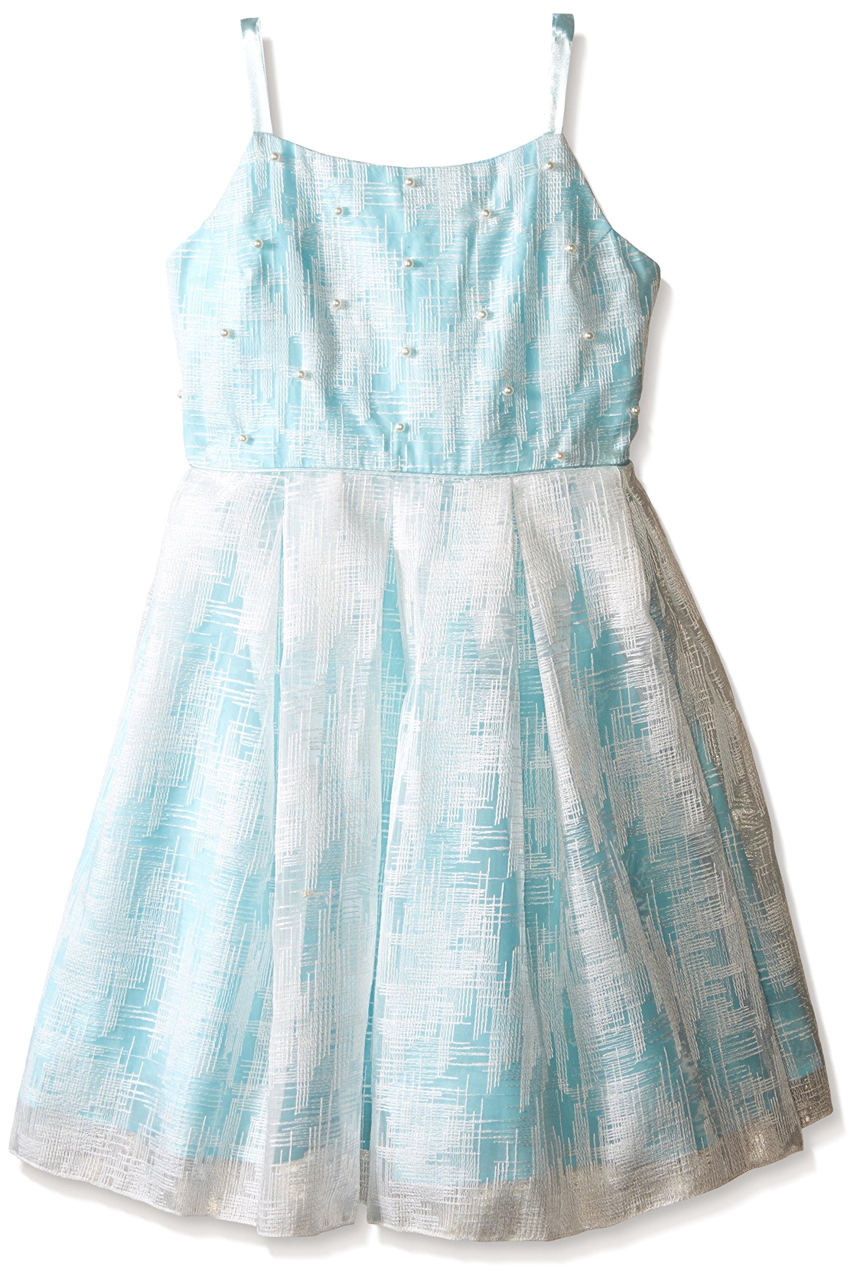 Biscotti Big Girls Tea Party Strappy Dress, Aqua, 7 by Biscotti (Image #1)