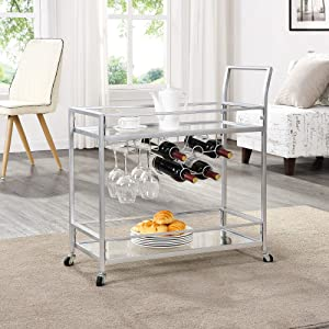 "FirsTime & Co. Delilah Silver Bar Cart, 32"" H x 15"" W x 12.25"" D"