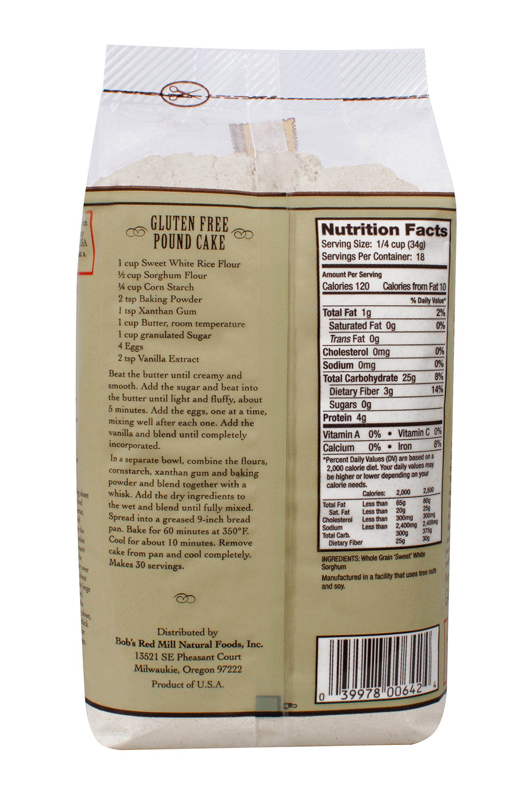 Bob's Red Mill - Gluten Free Sweet White Sorghum Flour, 22 Ounces (Pack of 4) by Bob's Red Mill (Image #2)