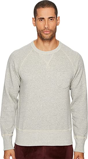 c399a541e92f Todd Snyder + Champion Men's Basic Pocket Sweatshirt, Light Grey Mix, ...