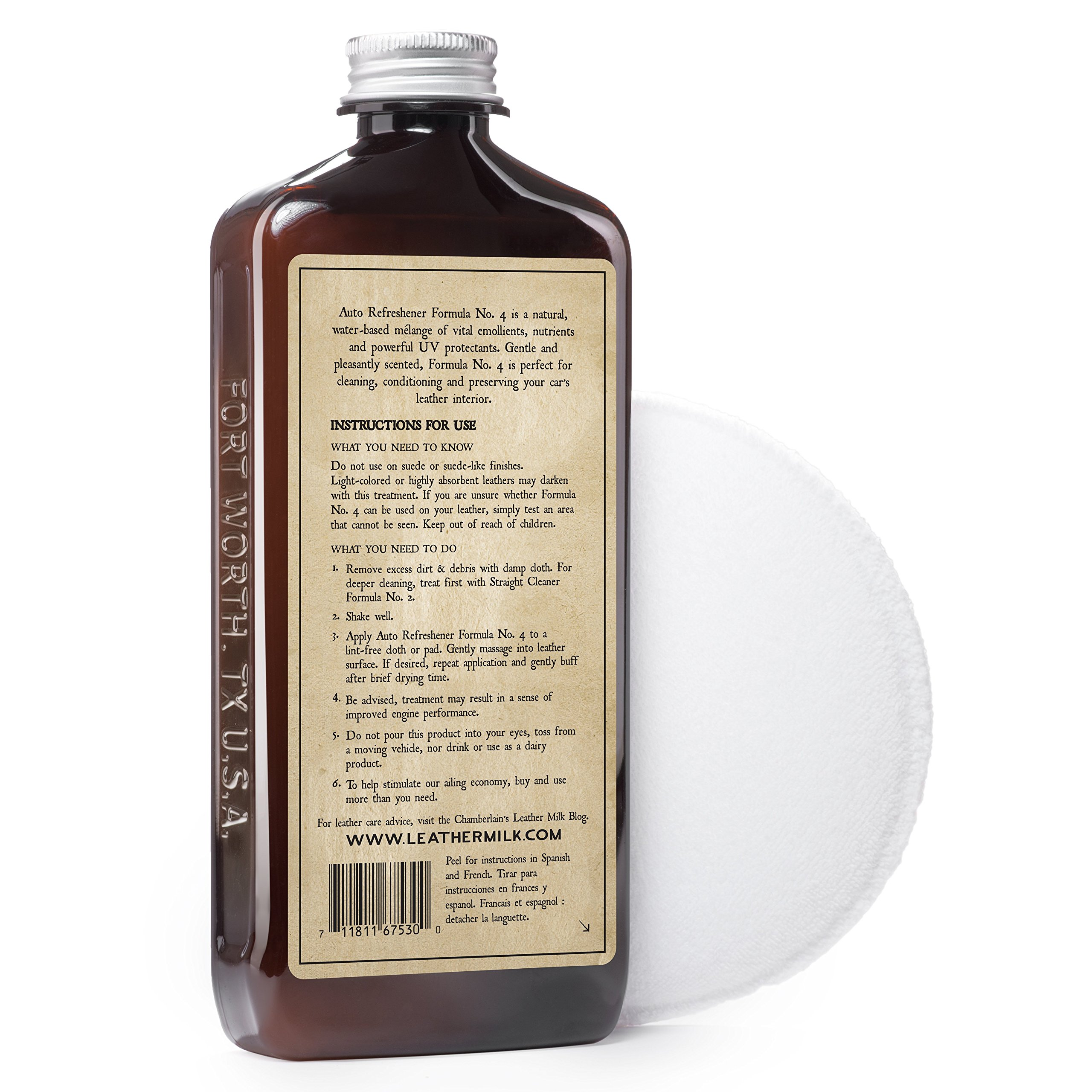 Leather Milk Auto Leather Cleaner & Conditioner Kit (2 Formula Car Detailing Set) - Straight Cleaner No. 2 + Auto Refreshener No. 4 - All Natural, Non-Toxic. Made in USA. Includes 2 Detailing Pads! by Chamberlain's Leather Milk (Image #6)