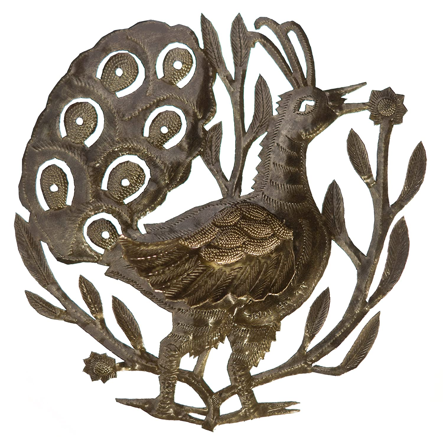 Peacock with Wing 2062 Le Primitif Galleries Haitian Recycled Steel Oil Drum Outdoor Decor 14 by 14-Inch