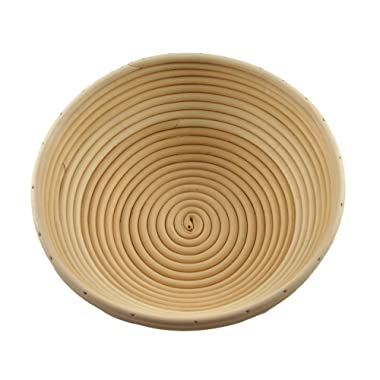 Adore Amore - 10 inch Round Banneton Bread Proofing Basket Removable Linen Cloth Liner Instructions and Recipe Included Natural Eco-Friendly Rattan Cane Brotform Large Bowl Artisan Bake Proving
