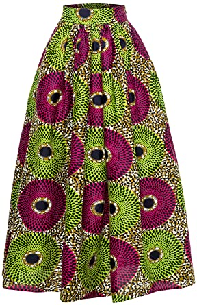 46becf750a Amazon.com: Women African Traditional Costume Ankara Print Skirt Dashiki  Long Skirts: Clothing