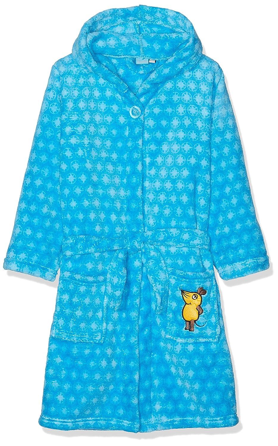 Playshoes Kinder Fleece-Bademantel mit Kapuze Sternen-Stickung allover die Maus- flauschiger Morgenmantel f/ür Jungen