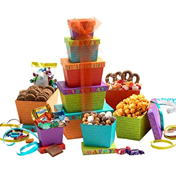 Broadway Basketeers Gift Tower Happy Birthday Celebration
