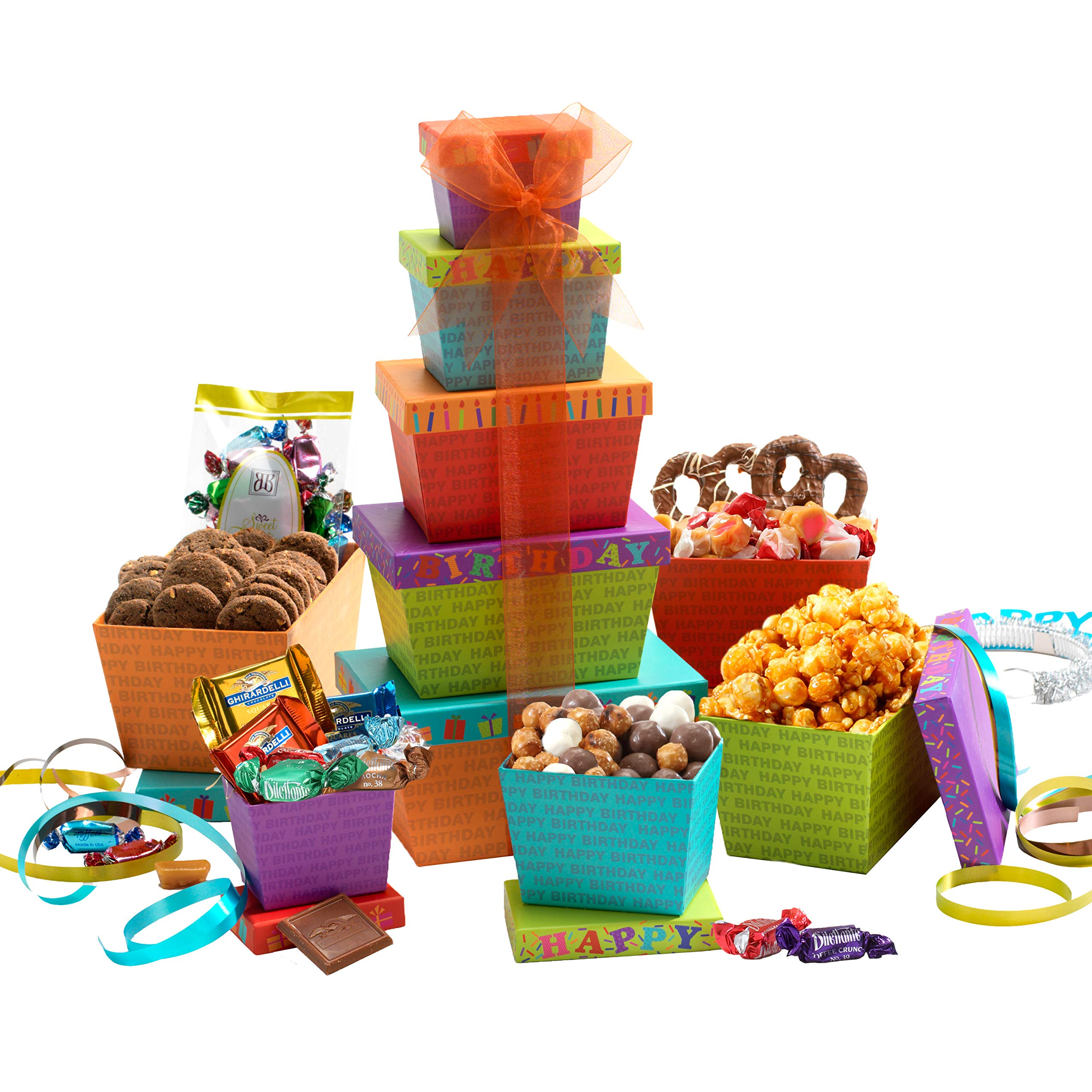 Amazon Broadway Basketeers Gift Tower Happy Birthday Celebration Grocery Gourmet Food