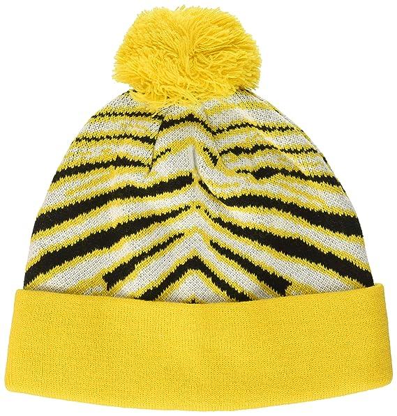 b227f7c37ee441 Zubaz Men's Knit Winter Stocking Beanie Pom Hat, Black/Gold/White One Size