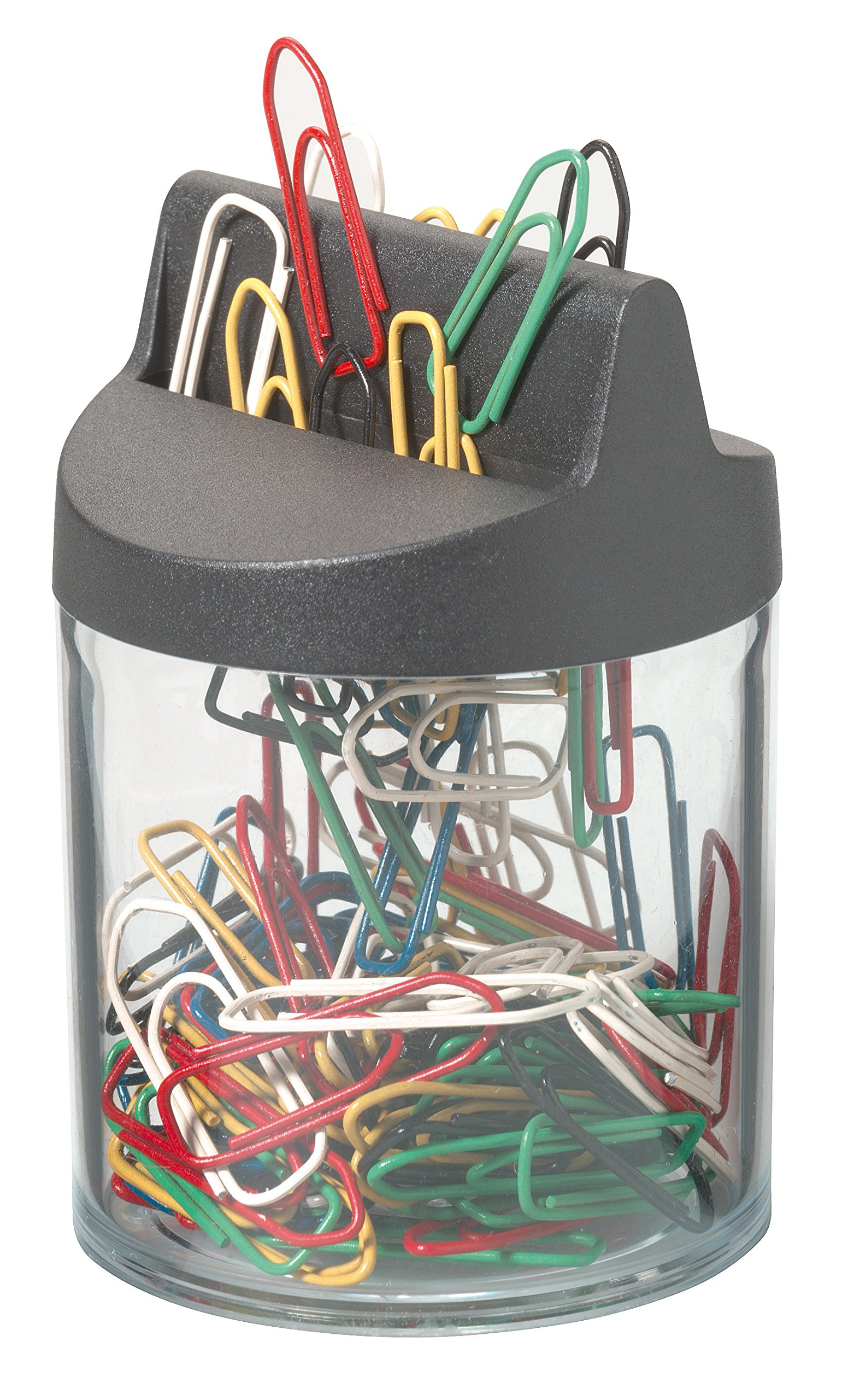 Durable 124000Paper Clips Dispenser with Magnetic and 125Paper Clips 26mm Black/Transparent