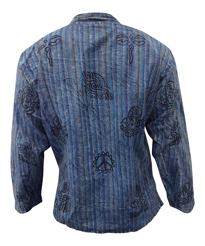SHOPOHOLIC FASHION Unisex Deslavado Rayas Ligero Hippy Camisa De Abuelo