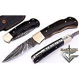 6011 Damascus Steel Best Folding Pocket Knife Cool Camping Hunting Knives Unique Damascus Blade Pattern GladiatorsGuild