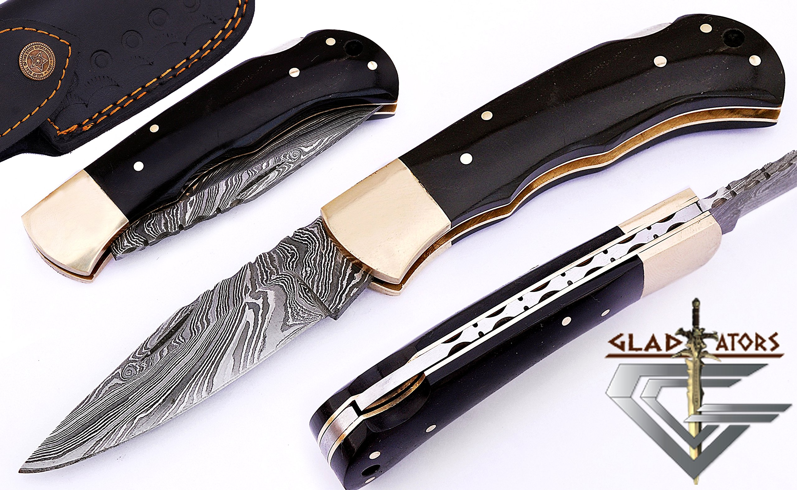 GladiatorsGuild 6011H Damascus Steel Best Folding Pocket Knife Cool Camping Hunting Knives Unique Damascus Blade Pattern (Black Horn)