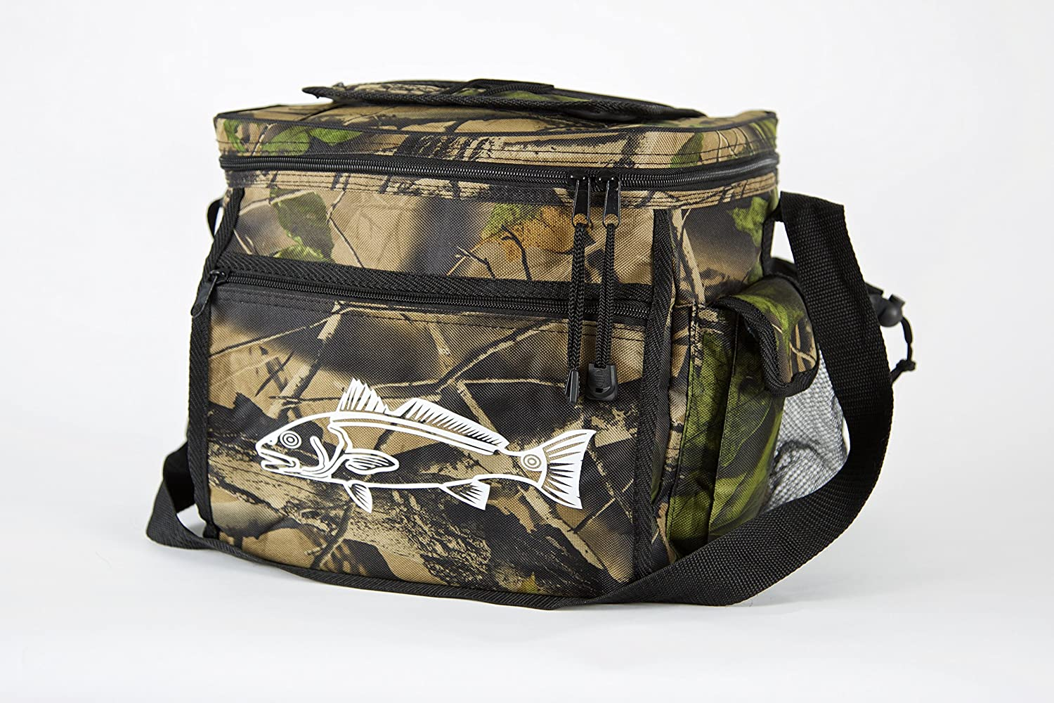 Swell Avenue Camo Cooler for Fishing, Camping or Hunting – Redfish Logo Durable Can Cooler with 24 Can Capacity and Heat Sealed Interior – Perfect Camo Lunchbox or Ice Chest