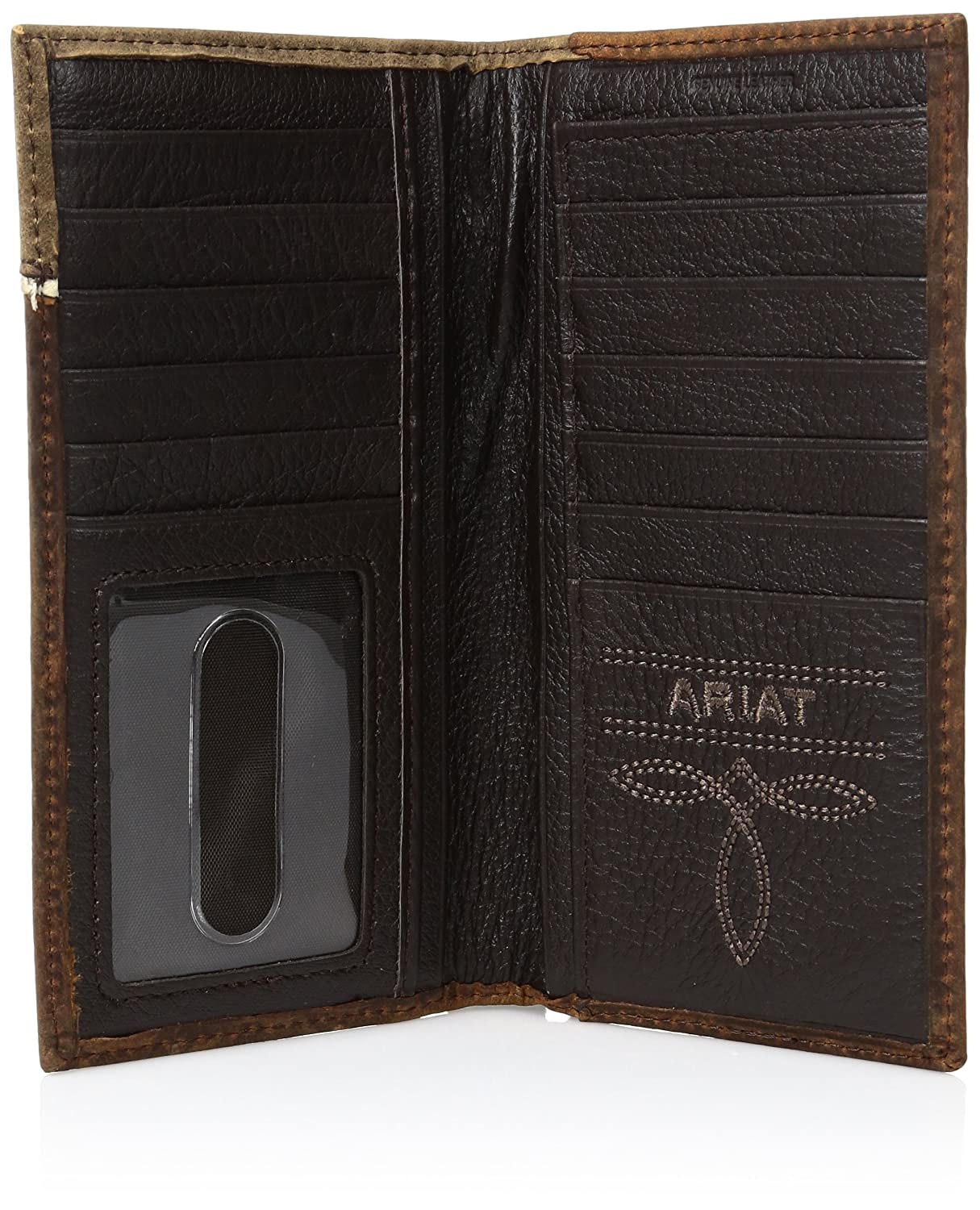 Ariat Mens Distressed Shield Inlay Rodeo Western Wallet