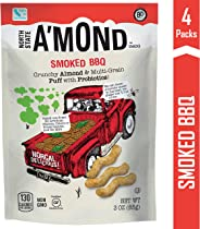 A'mond Smoked BBQ Snack Puffs, Crunchy Almond & Multi-Grain Super Food Snack Puff, Plant-Based, Gluten-Free, Non-GMO, 4 Pack,