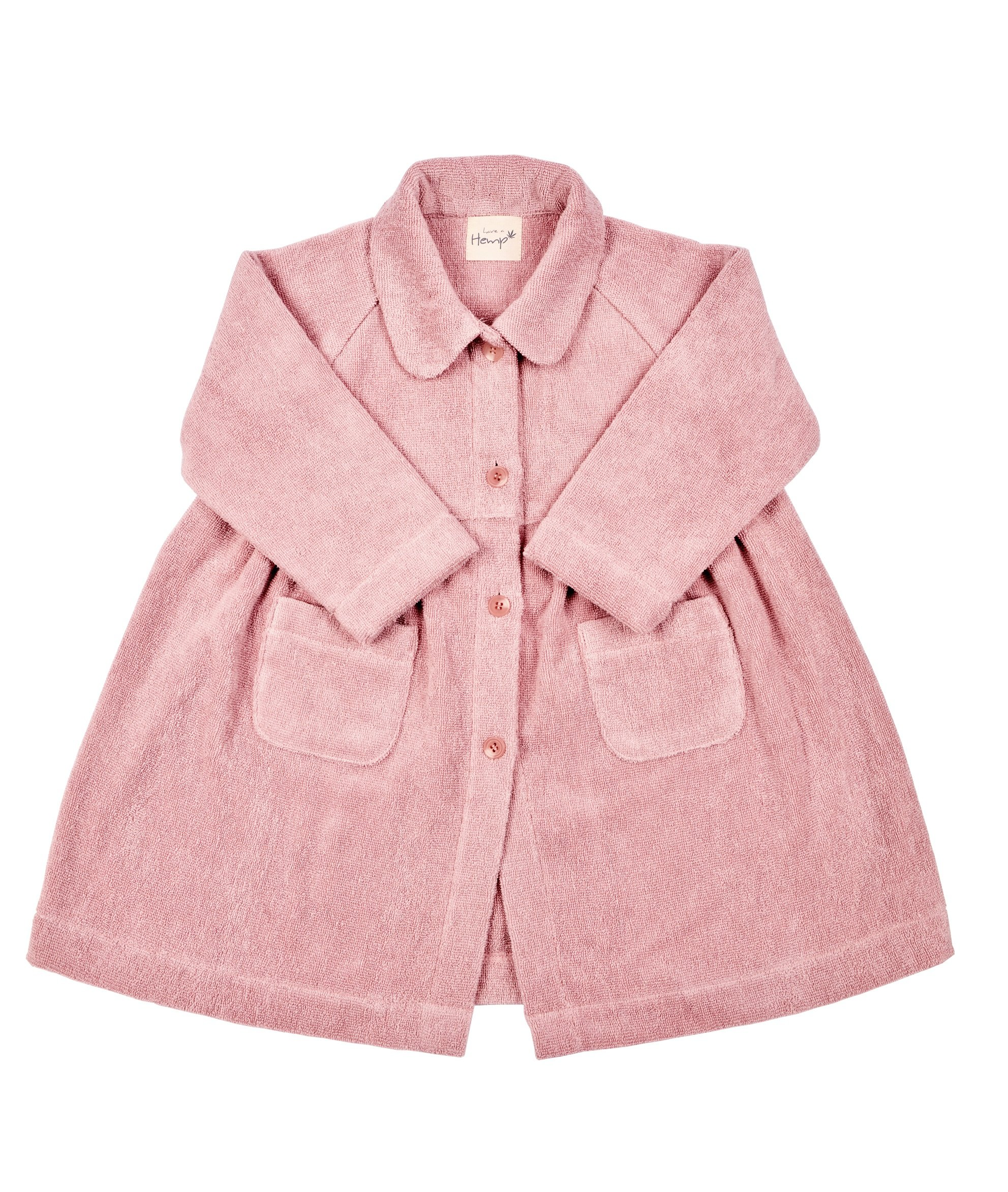 Hemp Bath & Beach Robe Dress for Girls, Sustainable and Eco-Friendly (Pink) by have a Hemp