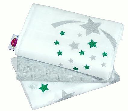 "Babymajawelt® Pañales ""STARS/Estrellas"" 70x70 cm 3-pack (paños"