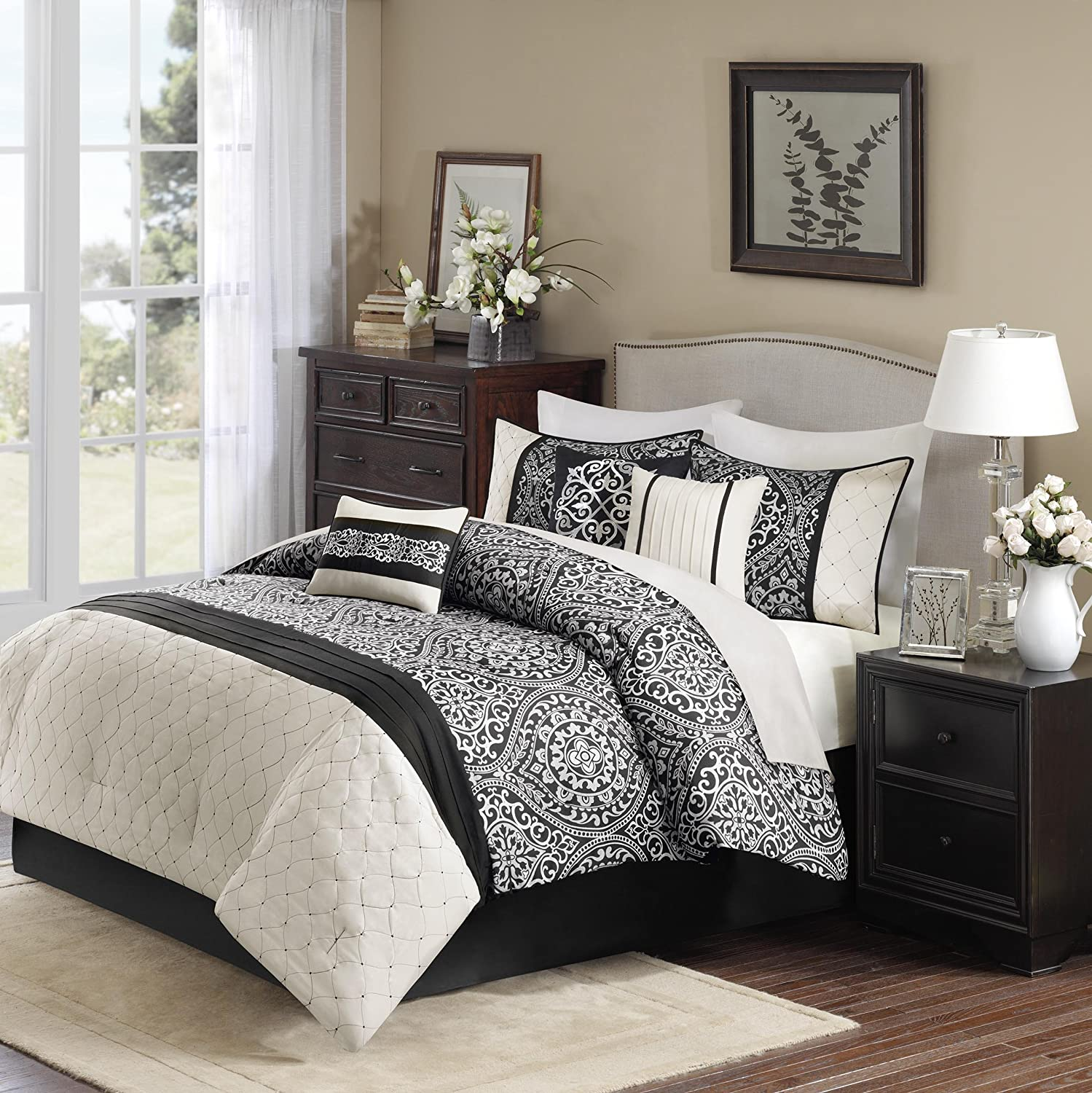 Amazon Madison Park Dover 7 Piece forter Set King Black