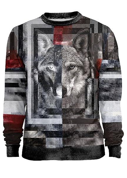 Blowhammer - Sudadera Hombre - Supreme Wolf - Grunge Lobo Salvaje Naturaleza Abstracto Camiseta Sudadera Hombre: Amazon.es: Ropa y accesorios