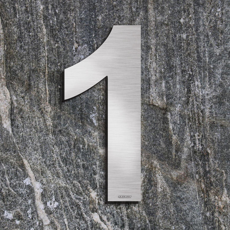 1 St/ück qoboob/® Edelstahl Hausnummern 4 Vier Stra/ße Nummer Fein geb/ürstet Silber 200mm