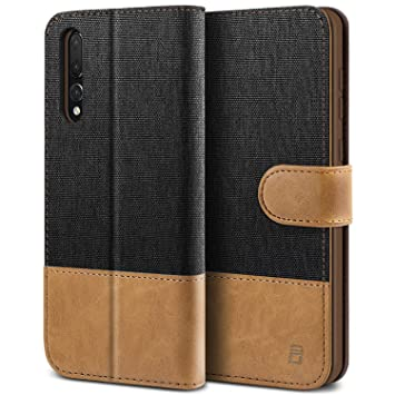 new product 3f53e bf773 BEZ Case for Huawei P20 Pro Case, Flip Case Compatible with Huawei P20 Pro,  Wallet Case Cover [Canvas Faux Leather] with Credit Card Holders, Kick ...