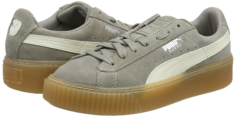 Puma Unisex-Kinder Suede Platform SNK Jr Sneaker, Grau (Rock Ridge-Whisper White), 36 EU