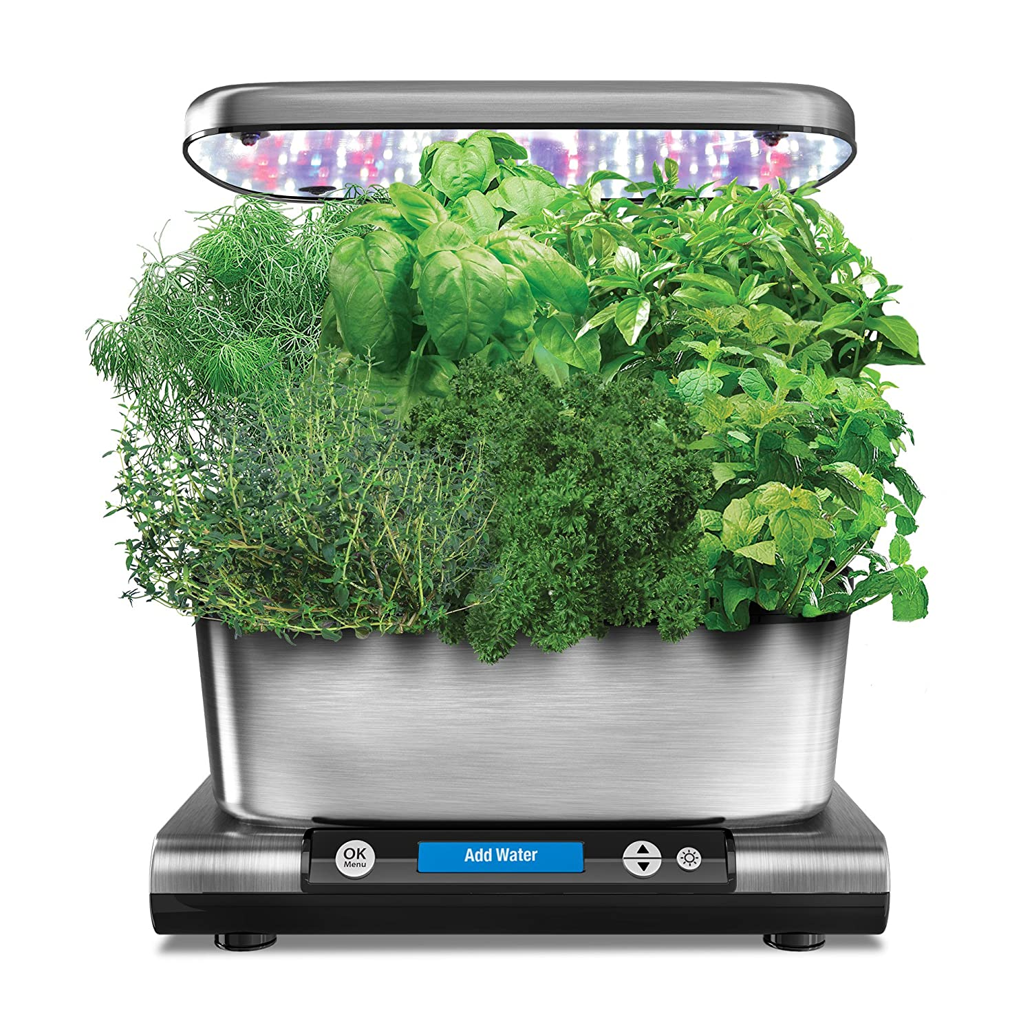AeroGarden Harvest Elite (Classic) with Gourmet Herb Seed Pod Kit, Stainless Steel