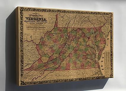 Topography Map Of Virginia.Amazon Com Canvas 24x36 Topography Map Virginia Maryland Delaware