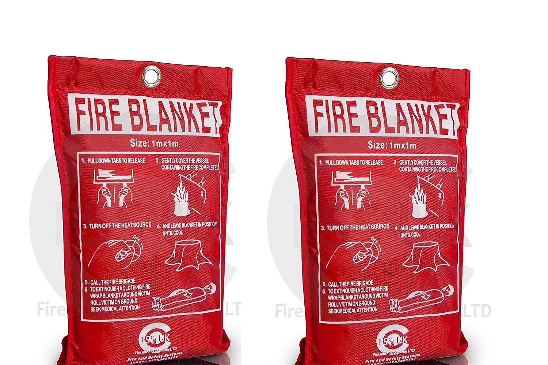 FSS UK 2x 1meter x 1meter Fire coperta grande sicurezza rilascio rapido Fighting linguette di o duro box 1m x 1m (custodia morbida)