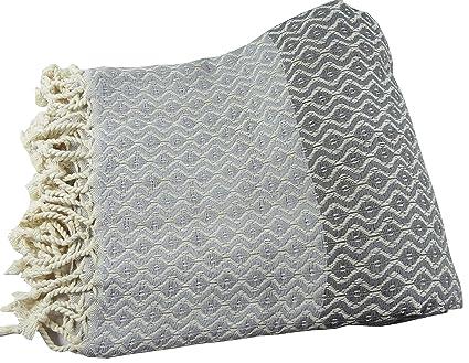 morganicsbeauty su turco Hamam peshtemal gris/plata 100 x 170 cm