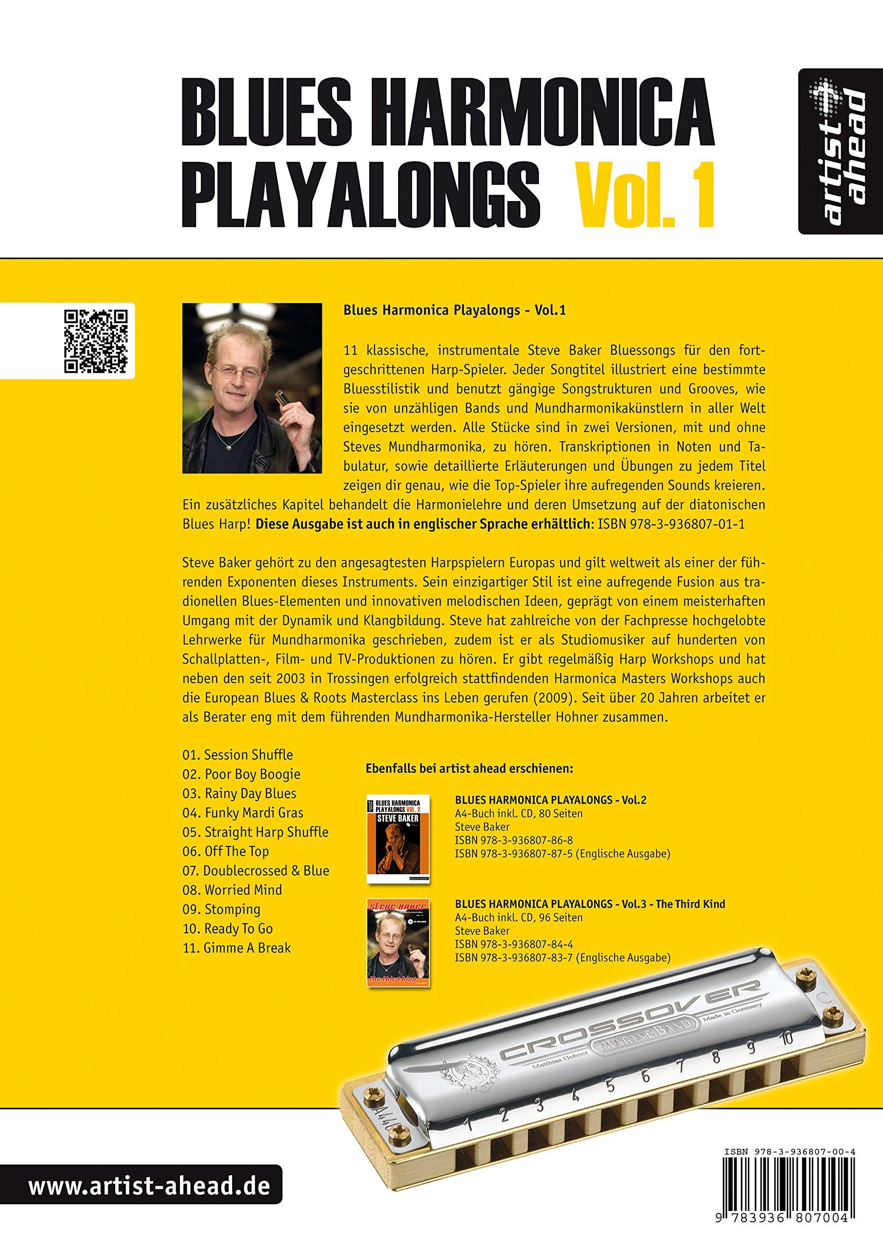 Blues Harmonica Playalongs  Vol  1  Deutsche Ausgabe: Steve Baker
