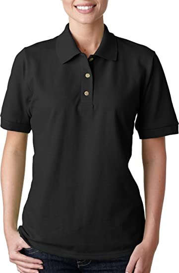 Gildan Womens Short Sleeve Pique Polo Jersey - BLACK - Medium
