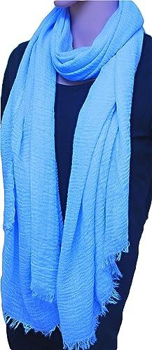 FIA MONETTI Estola de bufanda de mujer - azul claro - 180 x 70 cm - Bufanda con fucsias cortas en di...