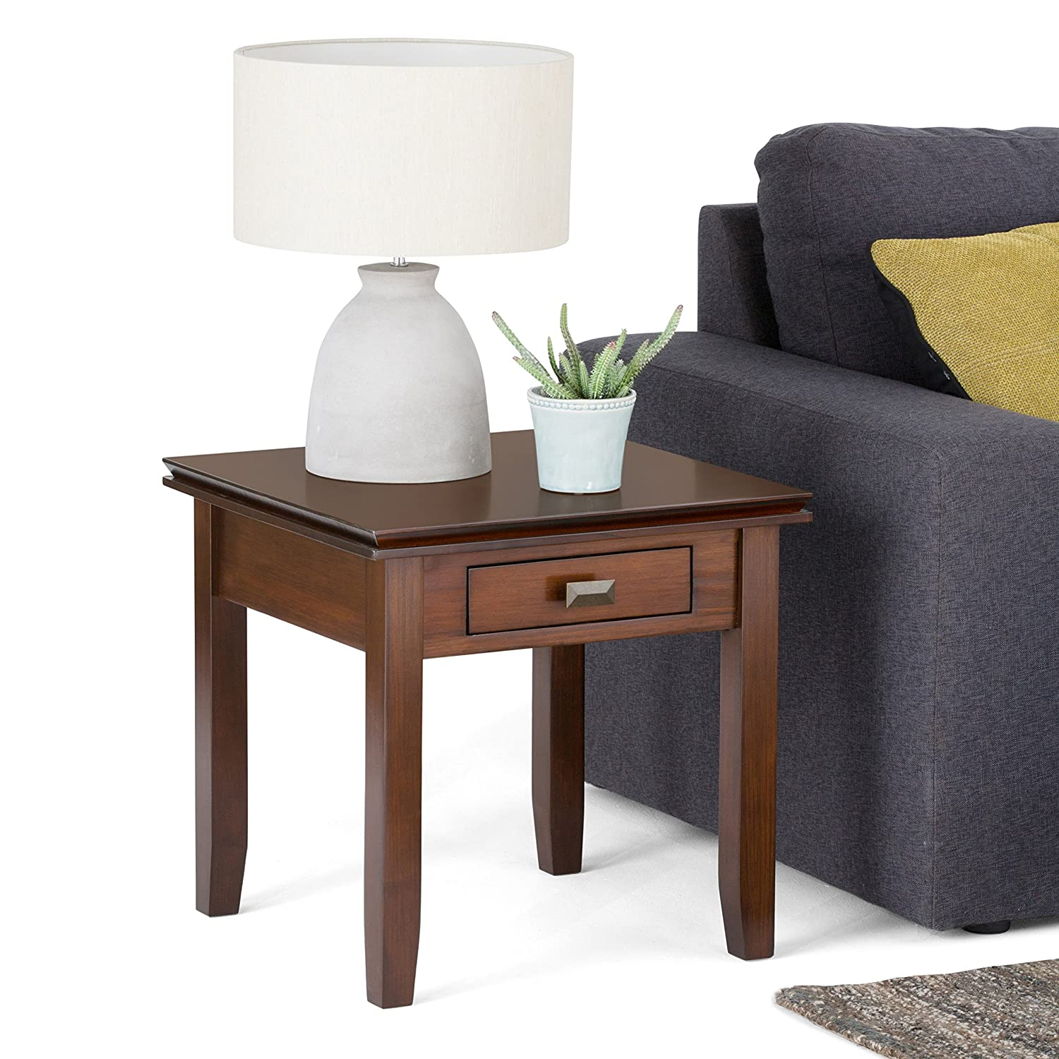 Amazon Simpli Home Artisan End Table Medium Auburn Brown