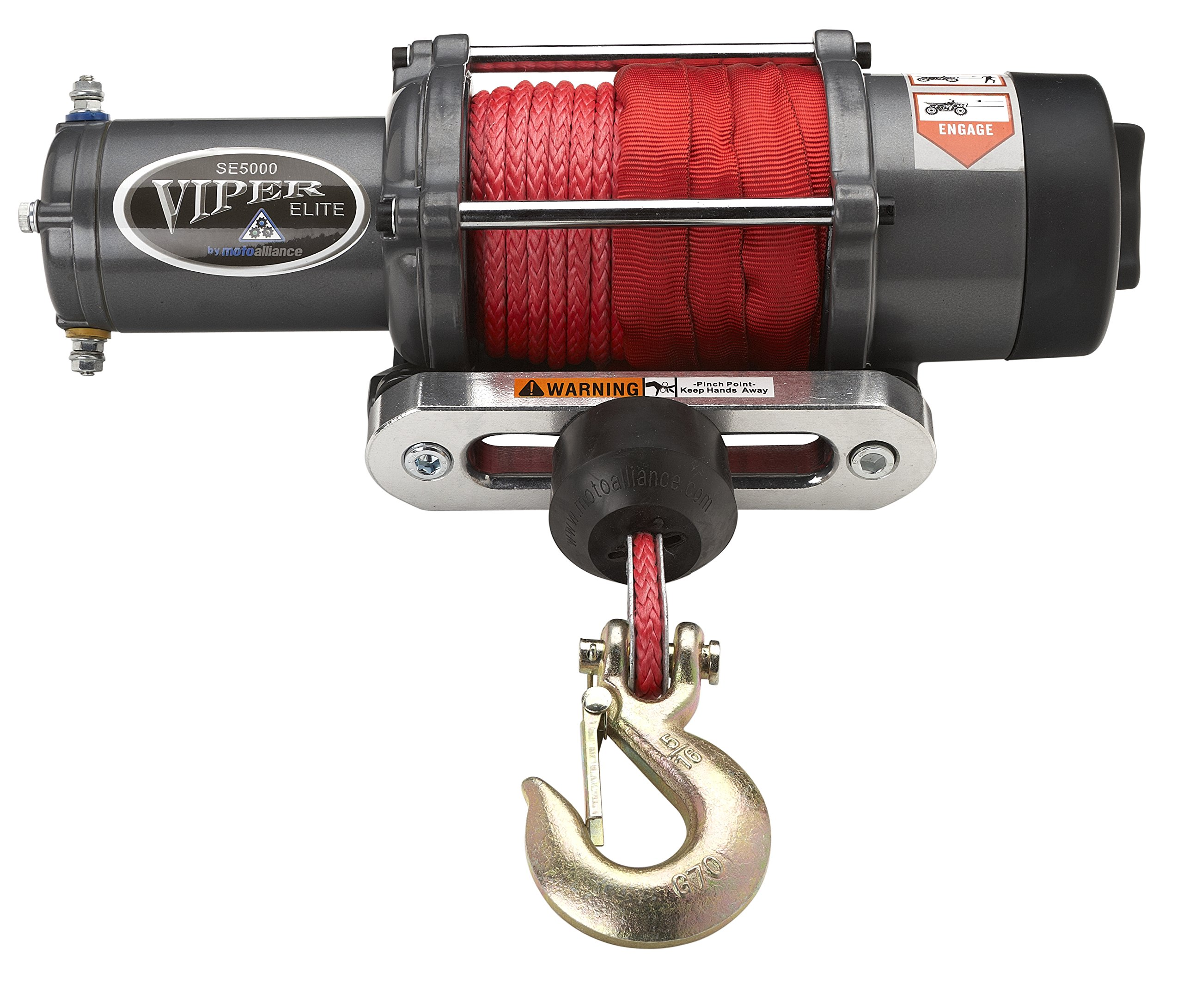 VIPER Elite 5000lb UTV Winch w/ 65 feet RED AmSteel-Blue Synthetic Rope