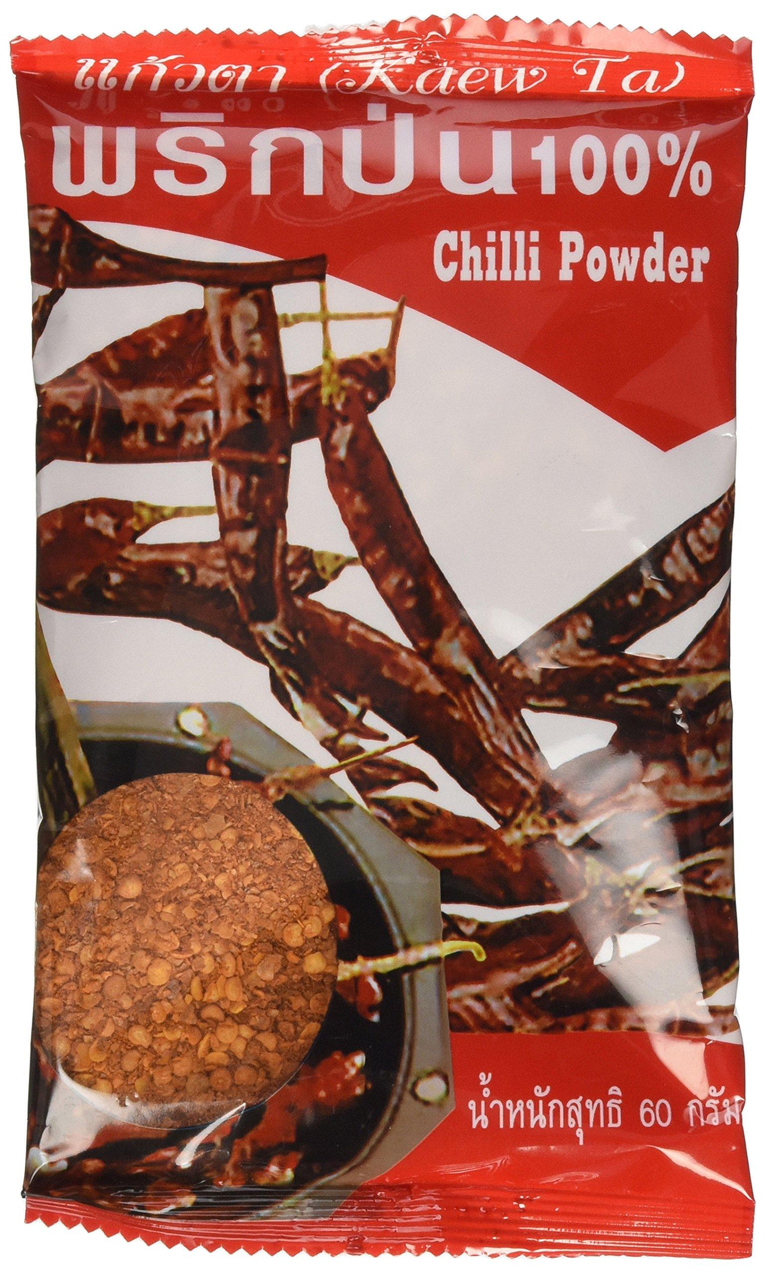 Dried Chilli Powder (Prik Pon) 100% Natural Very Spicy Thai Style Net Wt 60 G (2.11 Oz) Kaew-ta Brand X 4 Bags