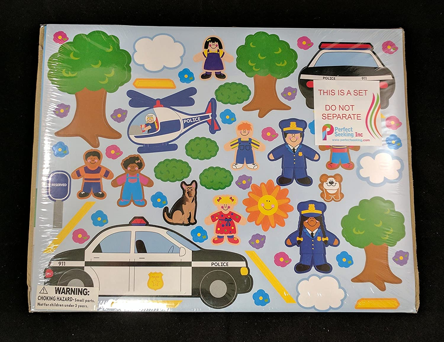 Fun Express 12 Design Your Own Police Station Car Helicopter Sticker Scenes Kids Children Play Set