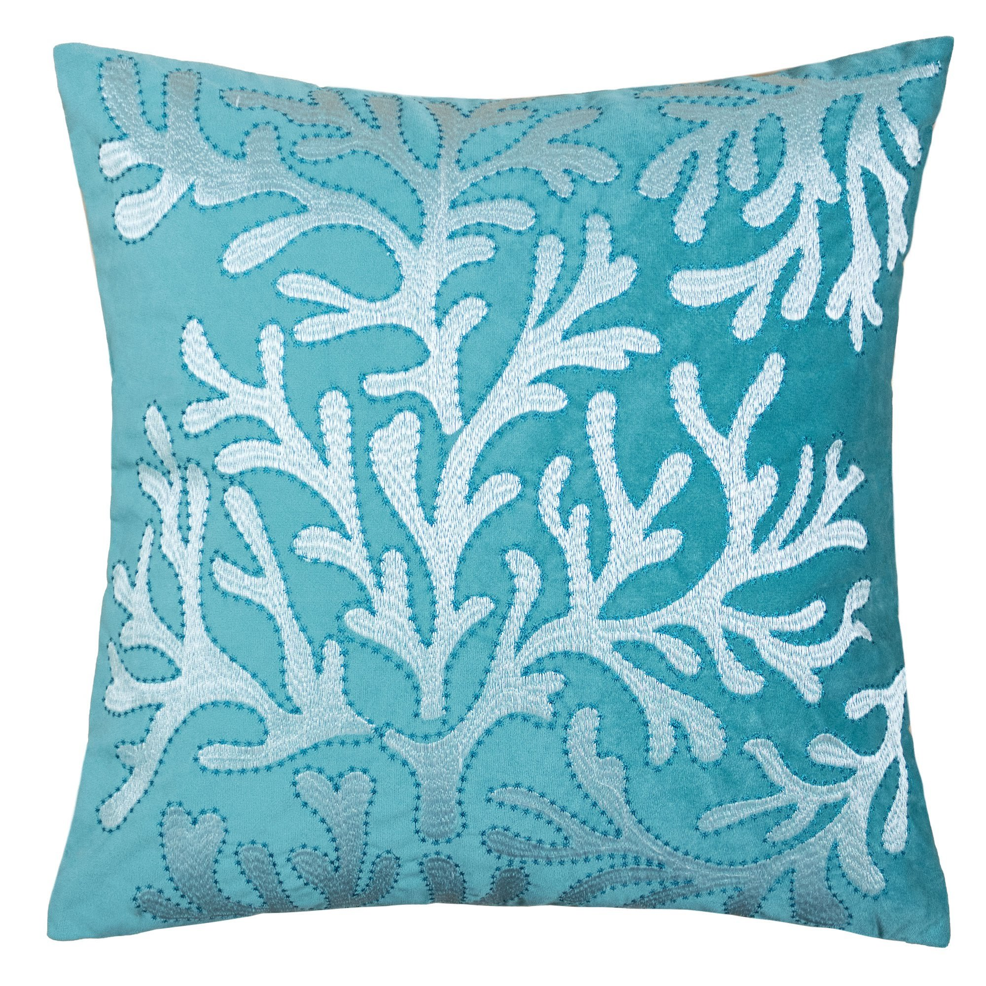 Homey Cozy Beach Collection Sea Coral Velvet Decorative Spa / Teal Pillow,  Feather Filled, Teal, Synthetic