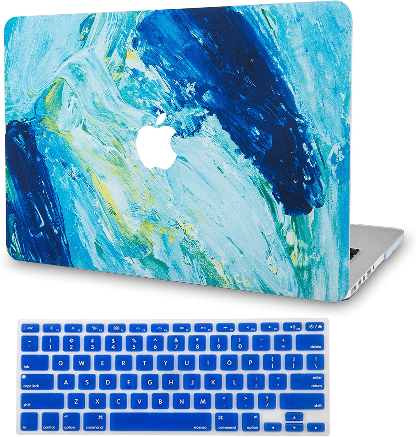 """LuvCase 2 in 1 Laptop Case for MacBook Pro 13"""" (2020) with Touch Bar A2251/A2289 Rubberized Plastic Hard Shell Cover & Keyboard Cover (Ocean)"""