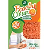 Antimicrobial Silicone Scrubber by Peachy Clean (Qty 3) - Kitchen and Dish Scrubber Sponge