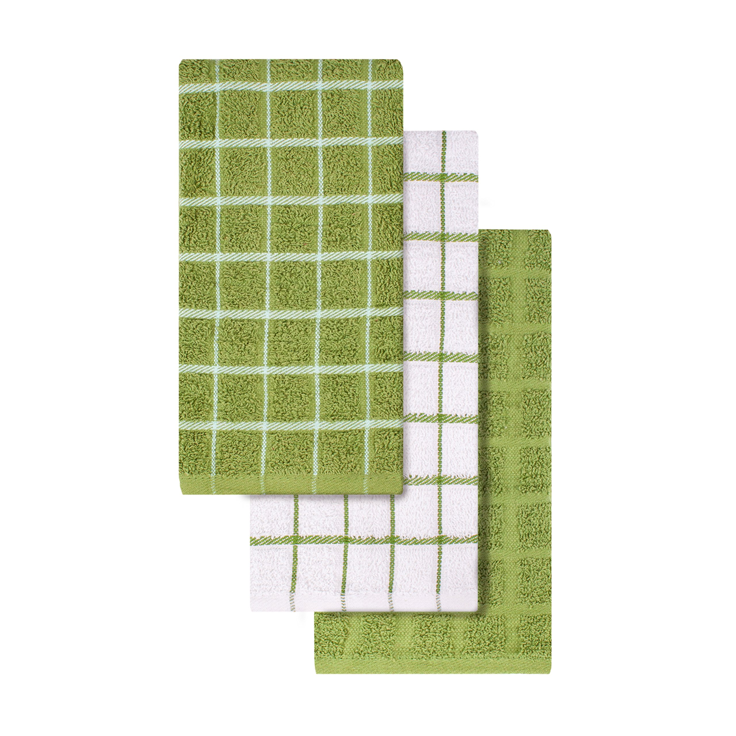 "Ritz 100% Cotton Terry Kitchen Dish Towels, Highly Absorbent, 25"" x 15"", 3-Pack, Cactus Green by Ritz (Image #3)"