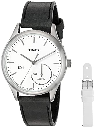 e96791dd3b2a Timex Women s TWG013700 IQ+ Move Activity Tracker Black Leather Strap Smart  Watch Set With Extra White
