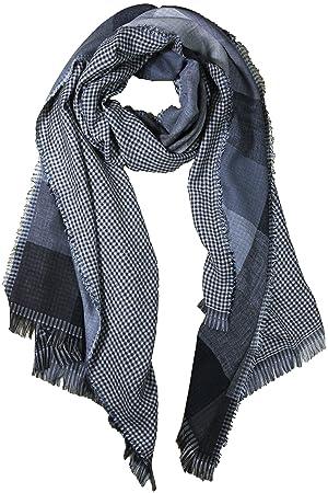 FERETI Echarpe de soie pour homme Noir et gris très douce e chaude Tissu  double 4 9cd13dfc321