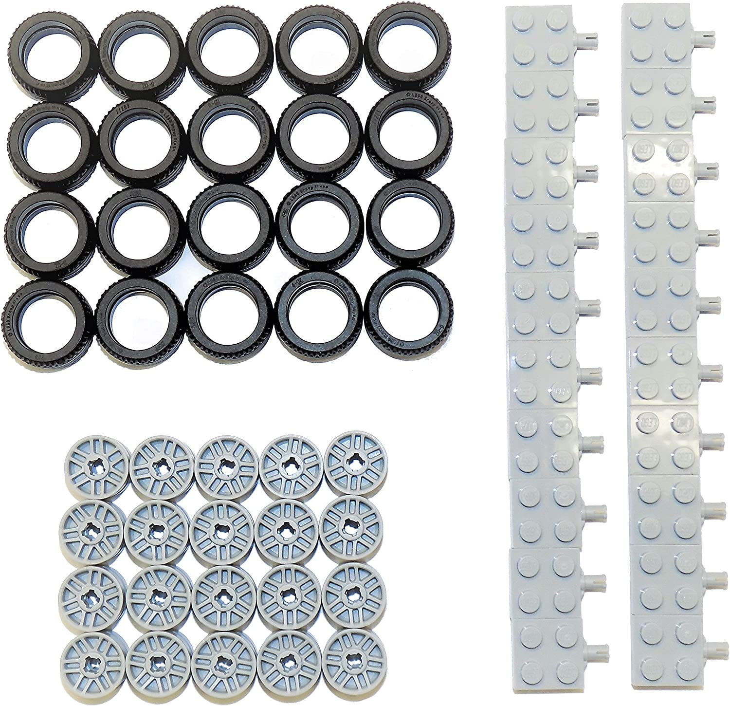 LEGO Parts and Pieces: Black Tire, Light Gray Wheel, and Light Gray Wheel Holder Pack - 60 Pieces