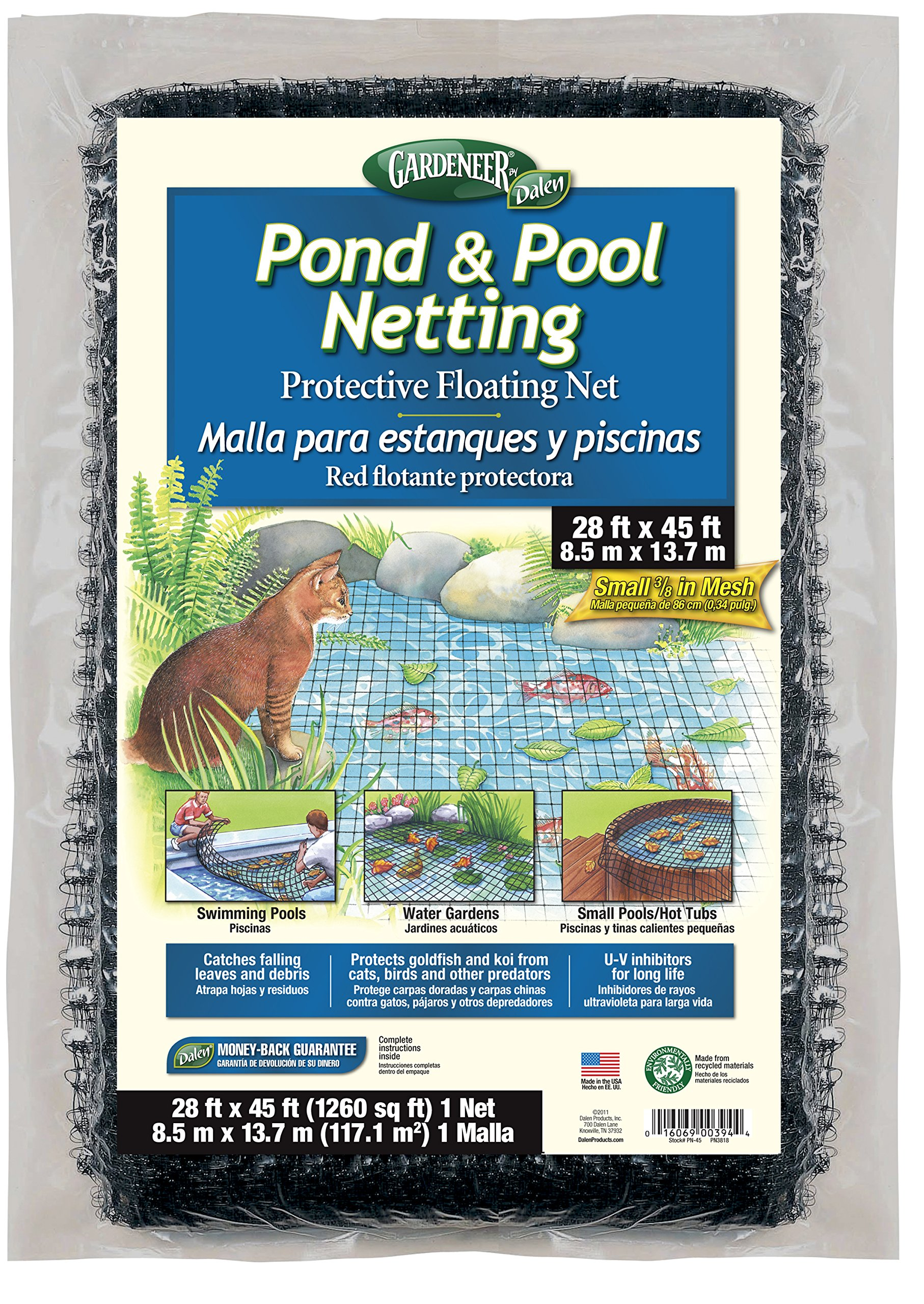Dalen PN45 016069003944 Gardeneer by Pond & Pool Protective Floating Net 28' x 4, 28'X45', Brown/A by Dalen