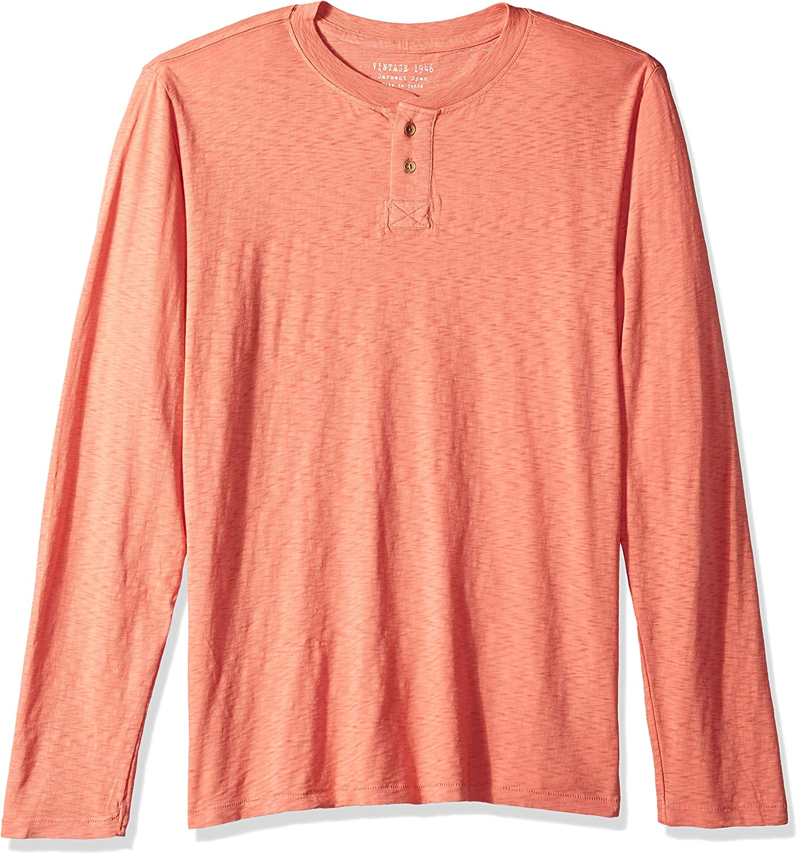 Vintage 1946 Mens Garment Dyed Slub Henley Henley Shirt