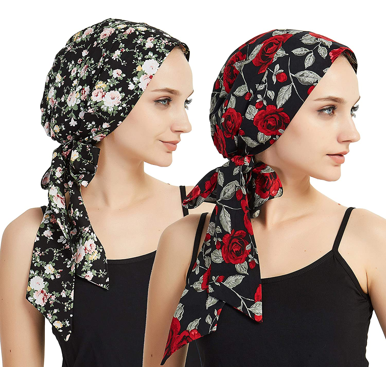 8c6baaed296 Amazon.com  Women s Head Scarf Multifunctional Headwear for Cancer Chemo  Hair Loss Sleeping Night Cap Cotton Satin Headwraps  Clothing