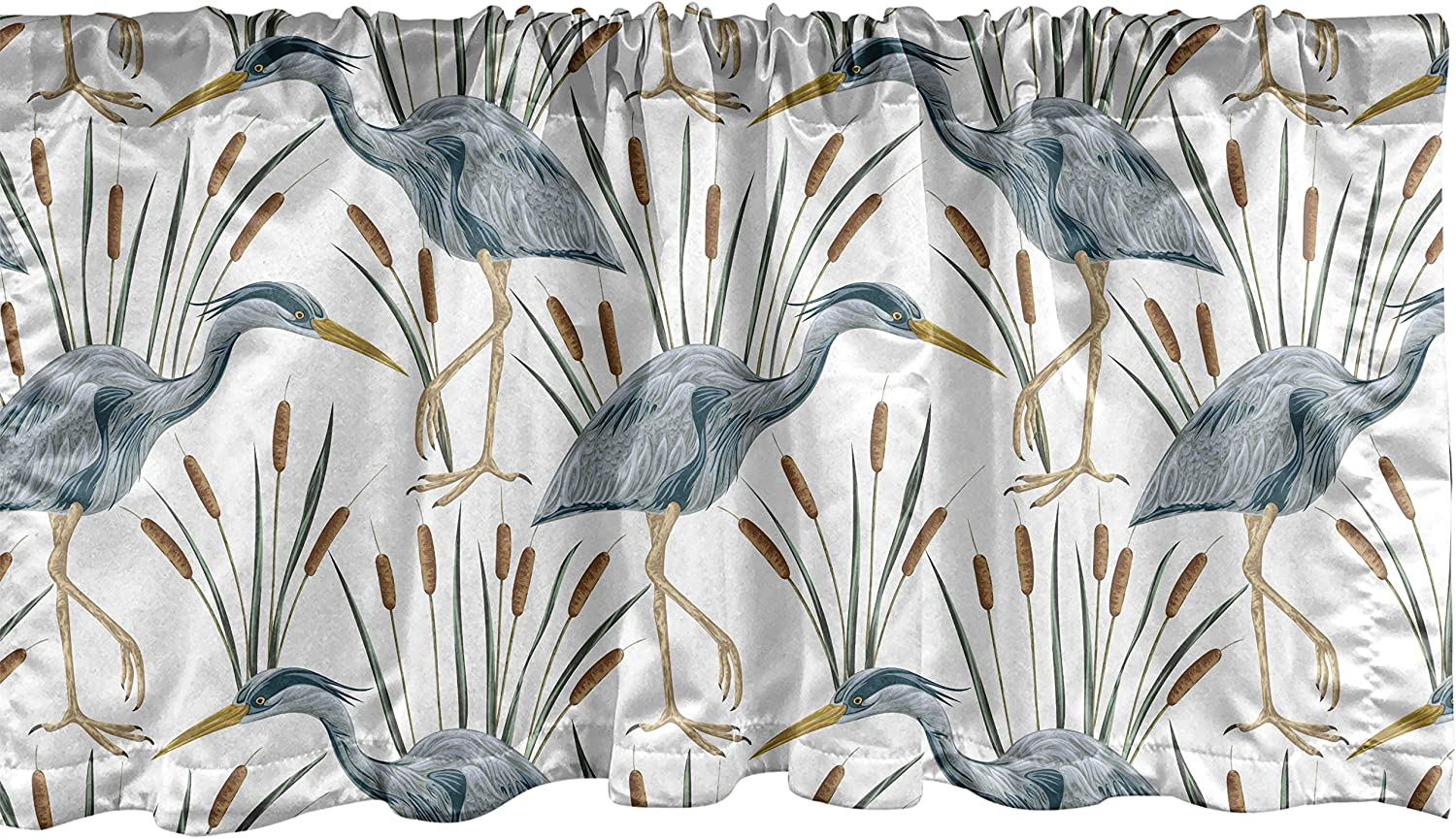 Lunarable Swamp Window Valance, Blue Grey Heron Birds and Bulrush Water Foliage Growth Wilderness Tropical Lands, Curtain Valance for Kitchen Bedroom Decor with Rod Pocket, 54
