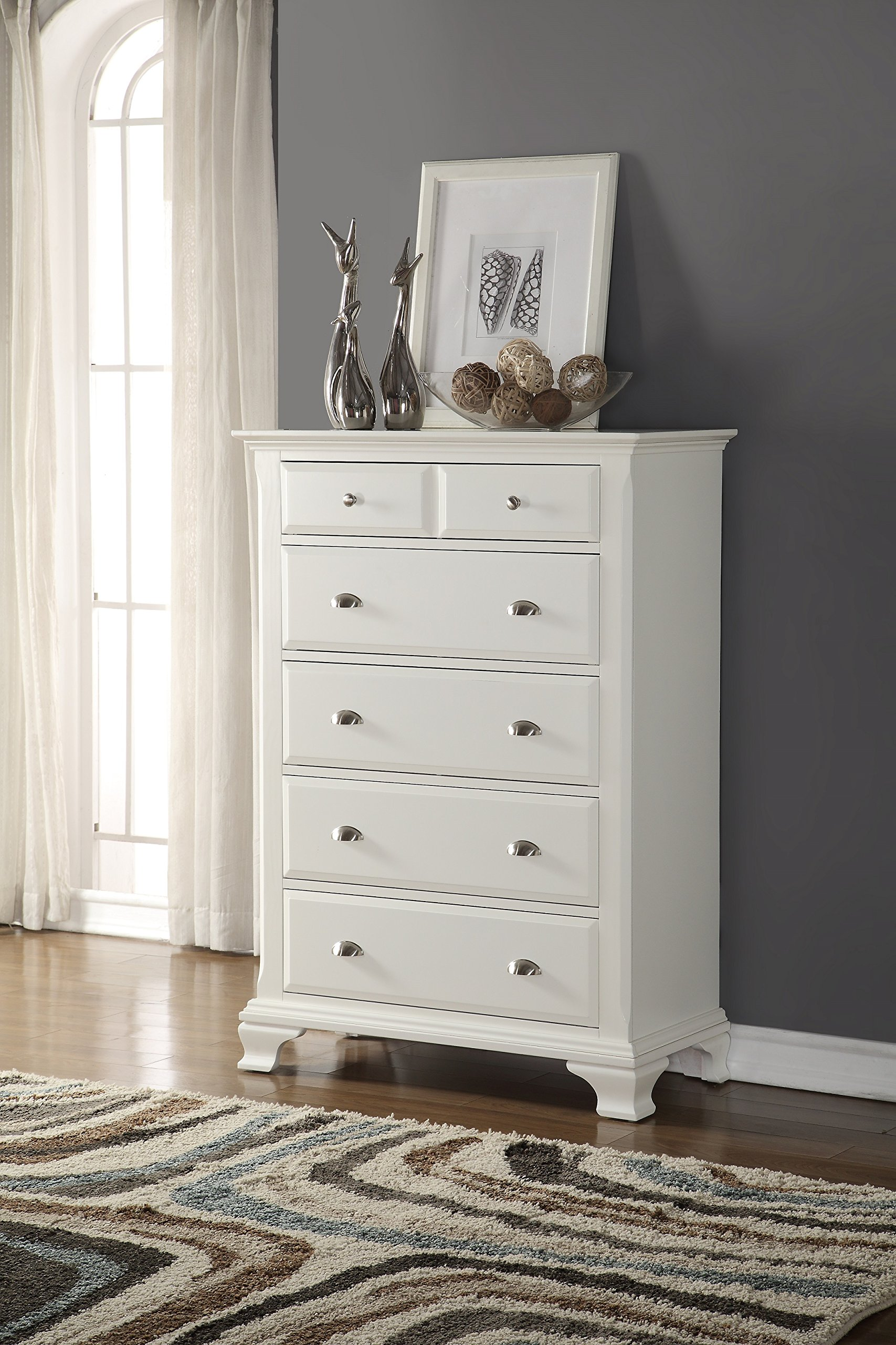 Roundhill Furniture B012C Laveno Wood 5-Drawer Chest, White